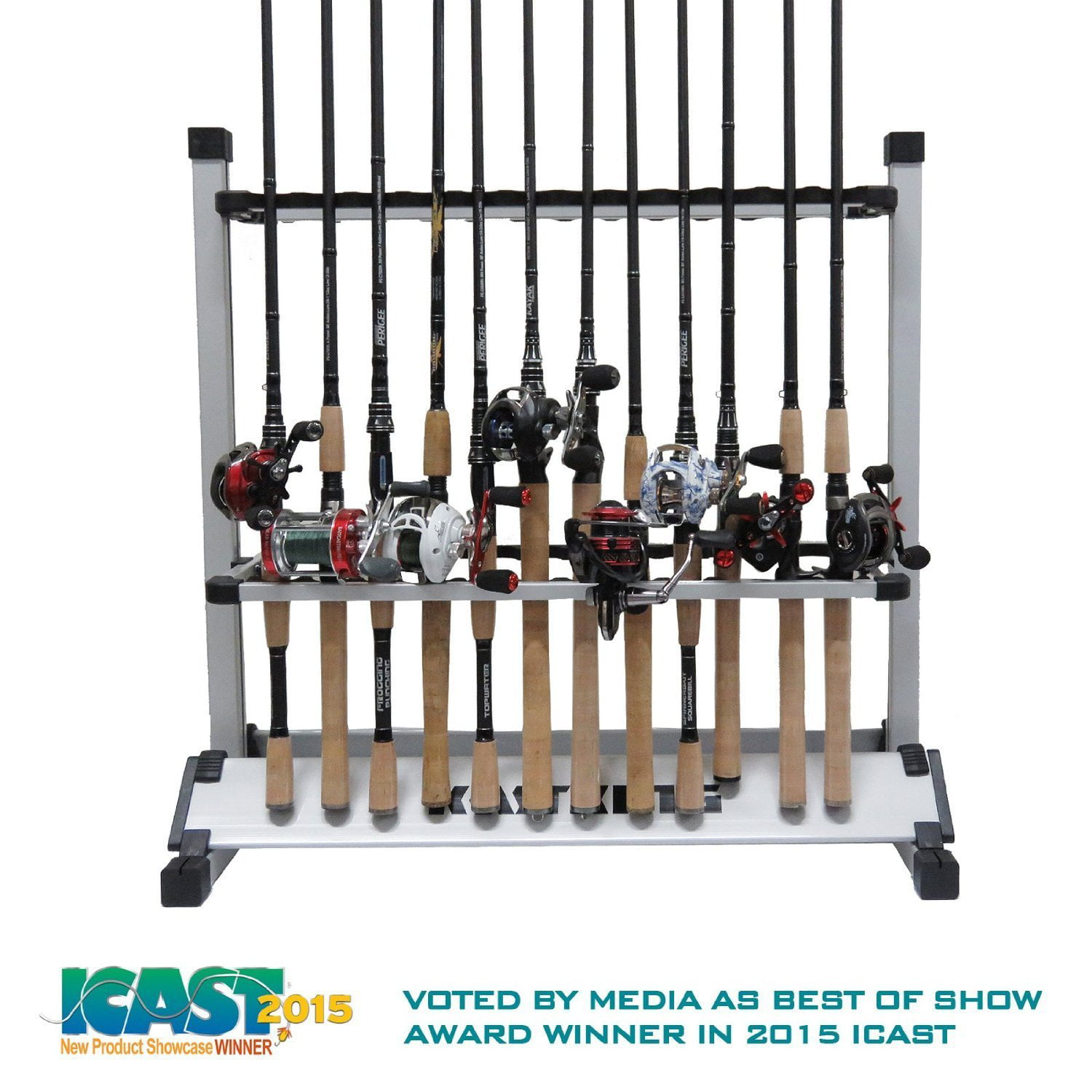 Click here to buy KastKing Rack 'em up Fishing Rods Holder 2015 ICAST Best of Show Award Winner Portable Aluminum Fishing Rod Racks 24 Rod... by Supplier Generic.