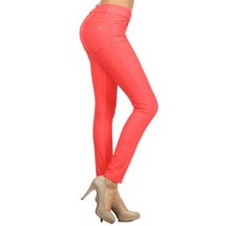 Women's Classic Solid Cotton Blend Jeggings Soft Skinny Stretch Pants Multi Colors & Sizes ()