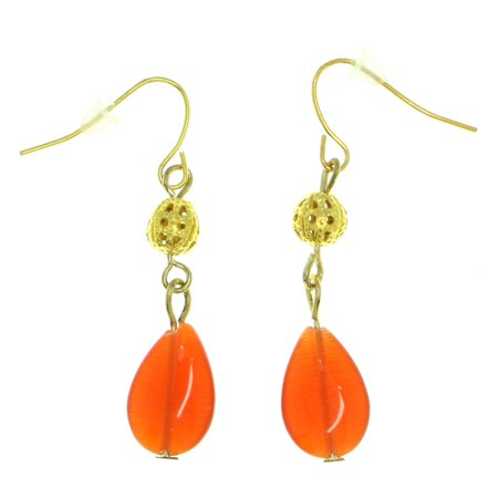 Faceted Glass Bead Earrings (Drop Dangle Earrings With Faceted Coral Colored Bead Accents Gold-Tone )
