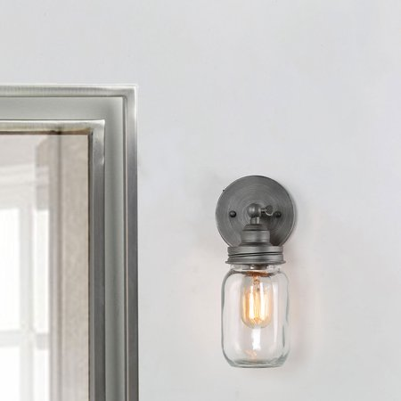 LNC Bathroom Light Wall Fixtures for Living Room Wall Scounces with Retro Vintage Mason Jar (Wagon Wheel Light Fixture With Mason Jars)