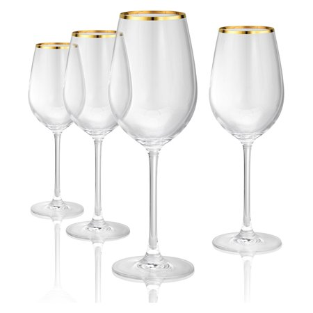 Artland Gold Band Red Wine Glasses - Set of 4 - Gold Wine Glasses
