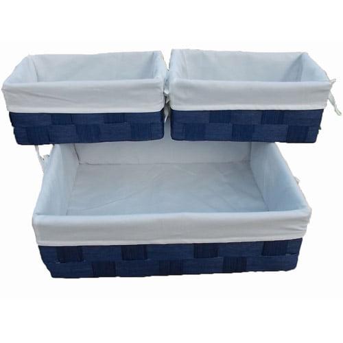 Baum Lined Storage Baskets, Set of 6, Blue