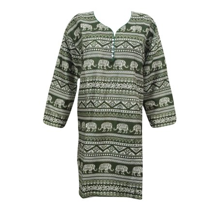 Chudidar Kurta Dress - Mogul Green Summer Tunic Dress Printed Ethnic Rayon Kurti Kurta Dress