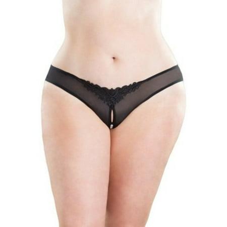 Oh La La Cheri Queen Pearled Crotchless Thong 2066X Black