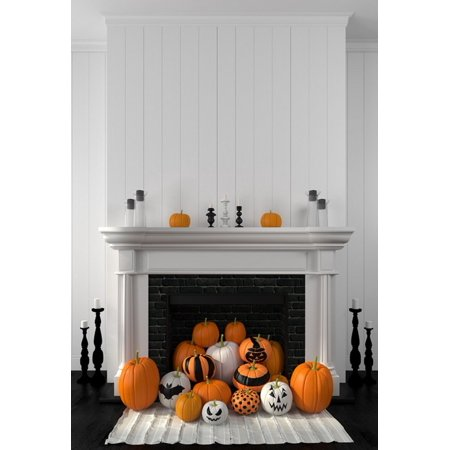 GreenDecor Polyster 5x7ft Happy Halloween Pumpkins Photography Backdrops Indoor Studio Backgrounds Photo Props