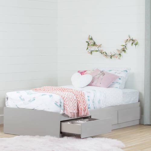 South Shore Reevo Twin Mates Bed with 3 Drawers, Soft Gray