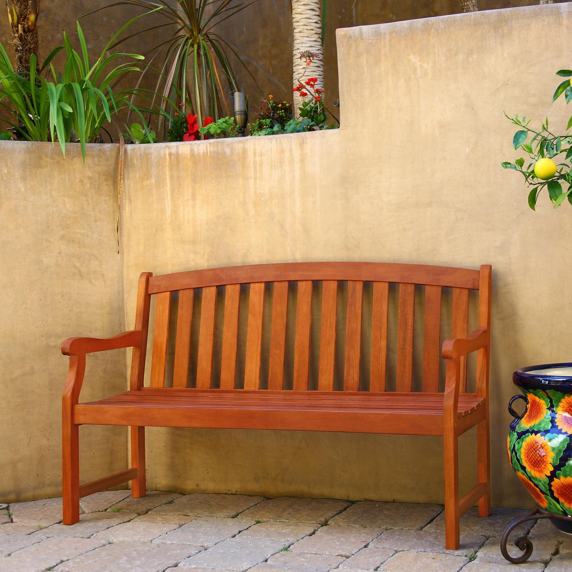 Outdoor Eucalyptus Wood Bench
