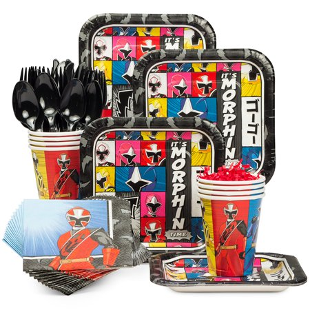 Power Rangers Dino Charge Birthday Party Standard Tableware Kit Serves 8 - Party Supplies - Power Ranger Party Supplies