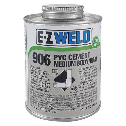 EZ WELD WW90602 Cement, 8 Oz, Gray, PVC, Heavy Duty Low VOC