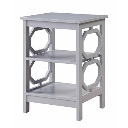 Shelving Side Panel - Modern Wood Accent End Side Table with Geometric Detailing Side Panels and 2 Shelves