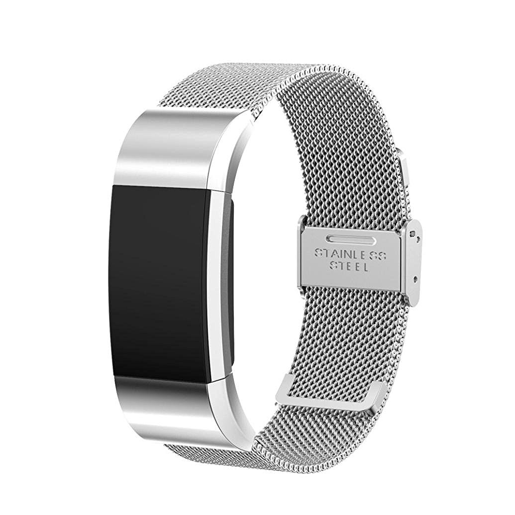 EEEKit Luxury Milanese Stainless Steel Wrist Band Loop Strap w/ Clasp for Fitbit Charge 2(Silver)