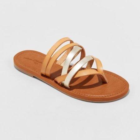 Women's Maritza Multi Strap Toe Slide Sandal - Universal Thread-New-9.5-Tan - image 1 of 1