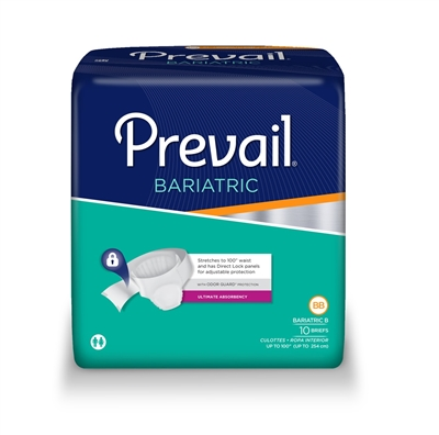 Prevail Specialty Brief, Bariatric B, Up to 100 Inch Waist, Heavy Absorbency, PV-094 - Case of 40