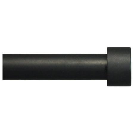 "Urbanest Adjustable End Cap Drapery Rod, 5/8"", Black, 28""-48"""