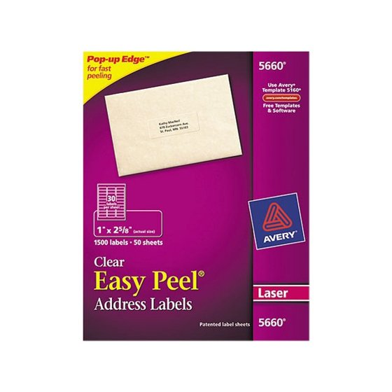 Avery Easy Peel Mailing Address Labels 1 X 263 In Clear 1500