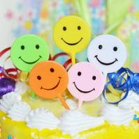5 Retro Smiley Smile Happy Face Emoji Cake Picks Cupcake Happy Birthday Cake Topper Assorted Colors 90s