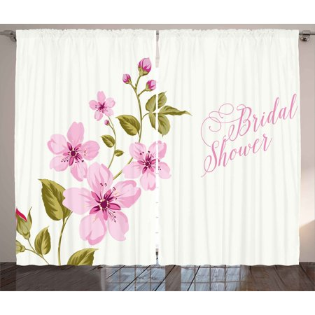 Bridal Shower Decorations Curtains 2 Panels Set, Spring Time Flowers Lilacs Bride Bachelorette Party, Window Drapes for Living Room Bedroom, 108W X 84L Inches, Light Pink and Green, by Ambesonne