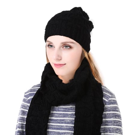 Black Magic Scarf (Vbiger Winter Knitted Hat and Scarf Set for Women, Black, 2 Pieces )