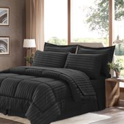 Dobby Stripe Bed In A Bag 8 Piece Comforter Sheet Bed Skirt Sham Set, King, Black