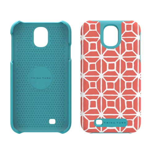 M-Edge Trina Turk Echo Case for Samsung GS4 (Trellis Coral) - GS4-TTE-P-TC