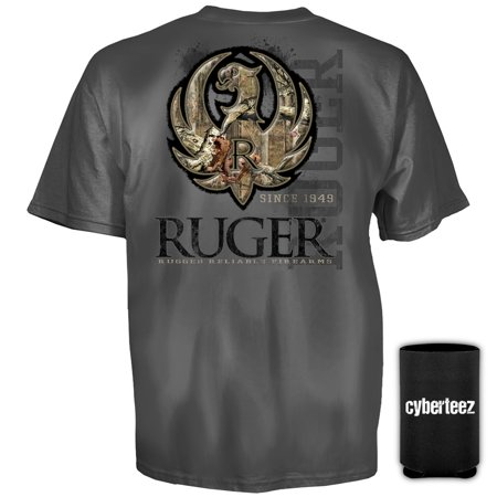 (Sturm Ruger & Co Charcoal Camo Stitch American Firearms T-Shirt + Coolie (S))