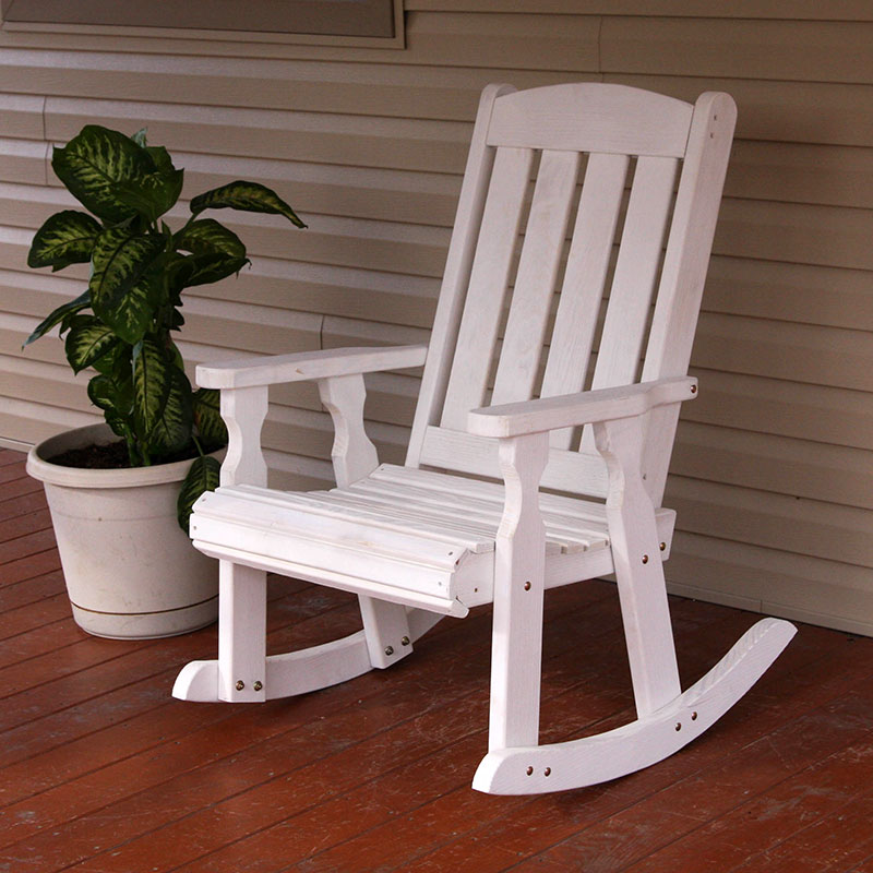 Amish Heavy Duty 600 Lb Mission Pressure Treated Rocking Chair (Semi-Solid White Stain)