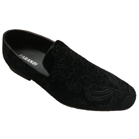Faranzi F41530 Black Embossed Imitation Suede Loafer (8.5)