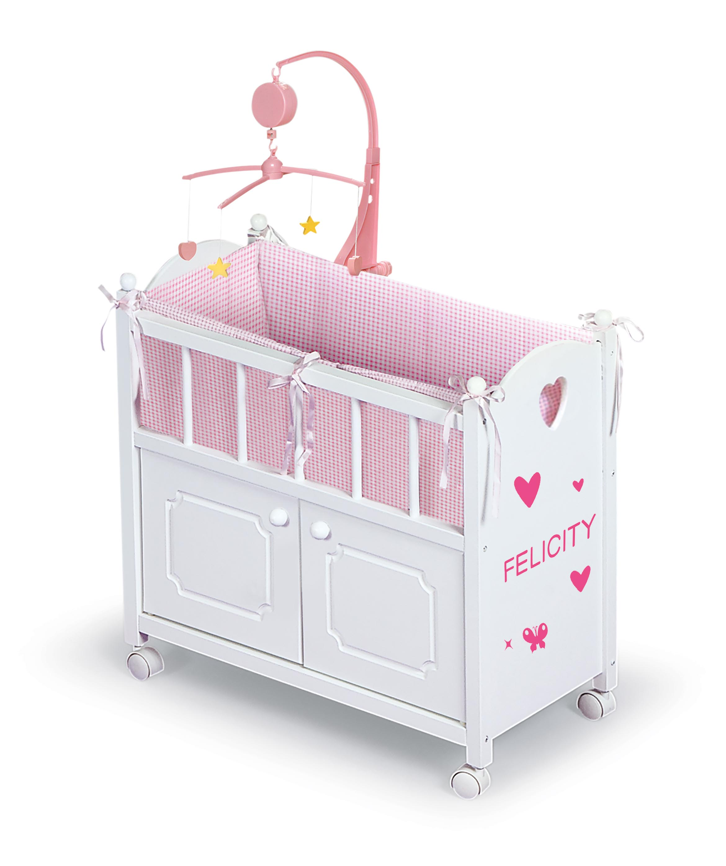 Badger Basket Cabinet Doll Crib With Gingham Bedding And Free Personalization Kit White Pink Fits American Girl My Life As Most 18 Dolls Walmart Com Walmart Com
