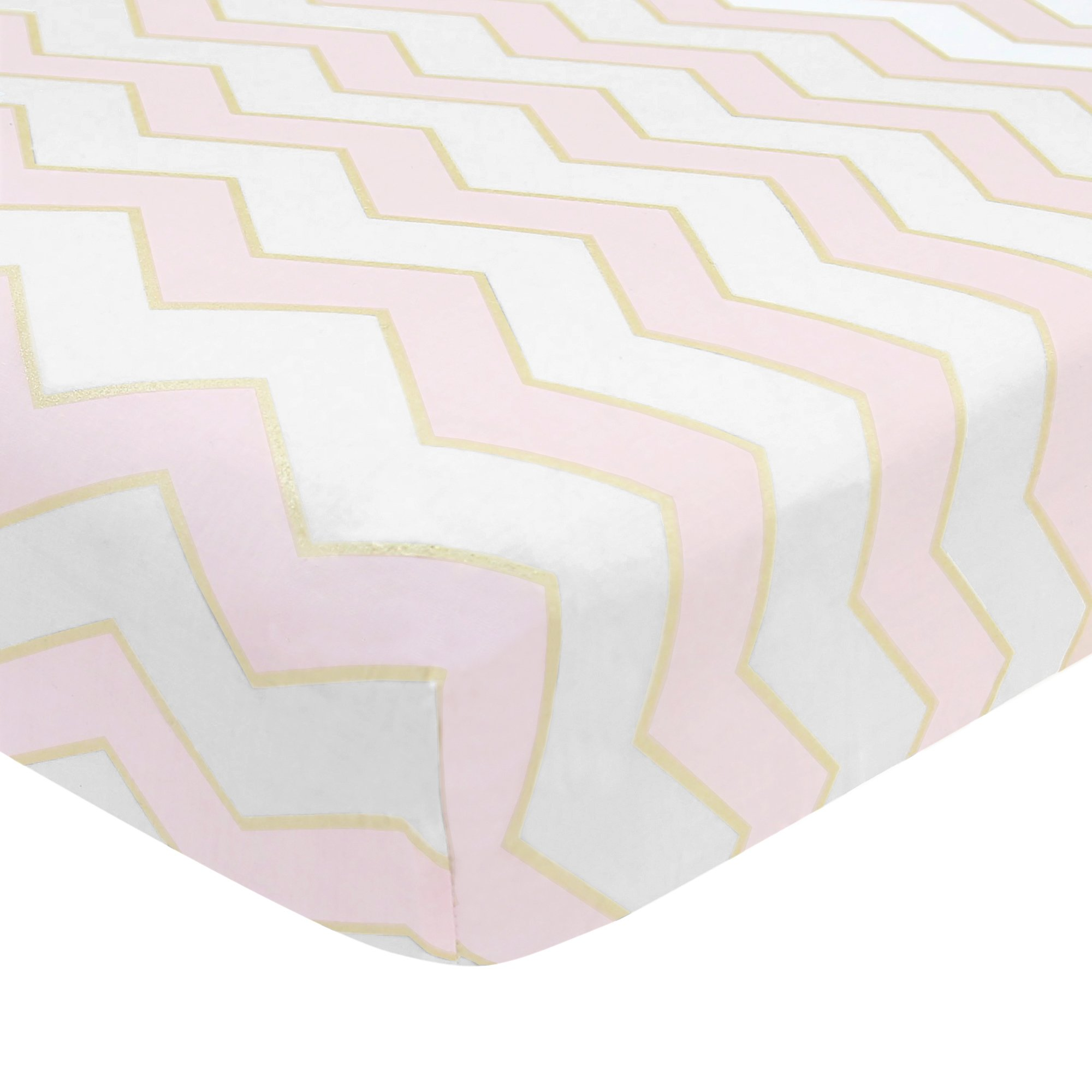 Lambs & Ivy Baby Love Pink/White/Gold 100% Cotton Chevron Fitted Crib Sheet