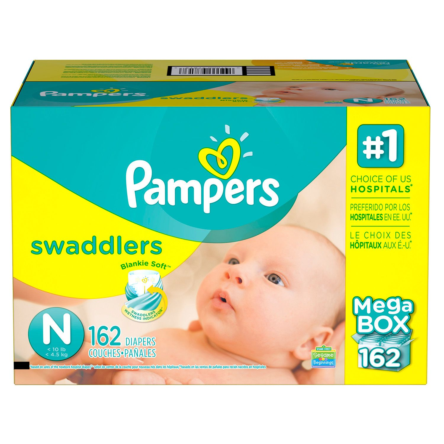 Pampers Swaddlers Diapers (Size N, 162 ct.)