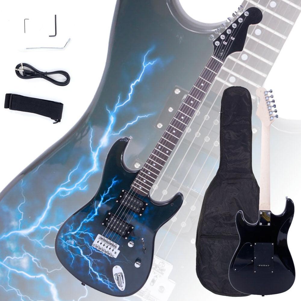 Ktaxon New Lightning Style Black Electric Guitar +Strap+Cord+Gigbag+Picks