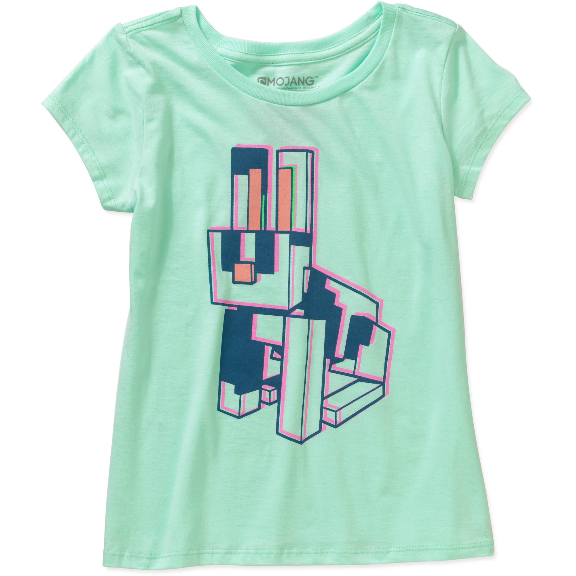 Minecraft Girls' Neon Rabbit Short Sleeve Crew Neck Graphic Tee by Mojang