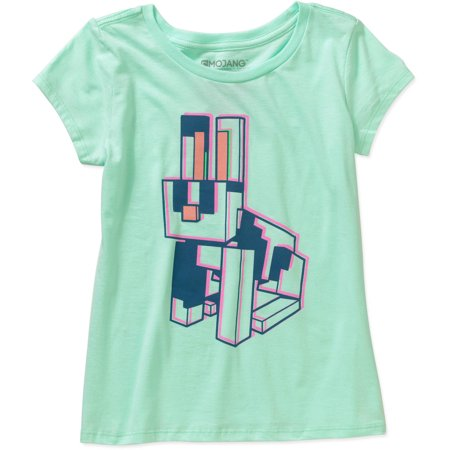 Minecraft Girls' Neon Rabbit Short Sleeve Crew Neck Graphic Tee