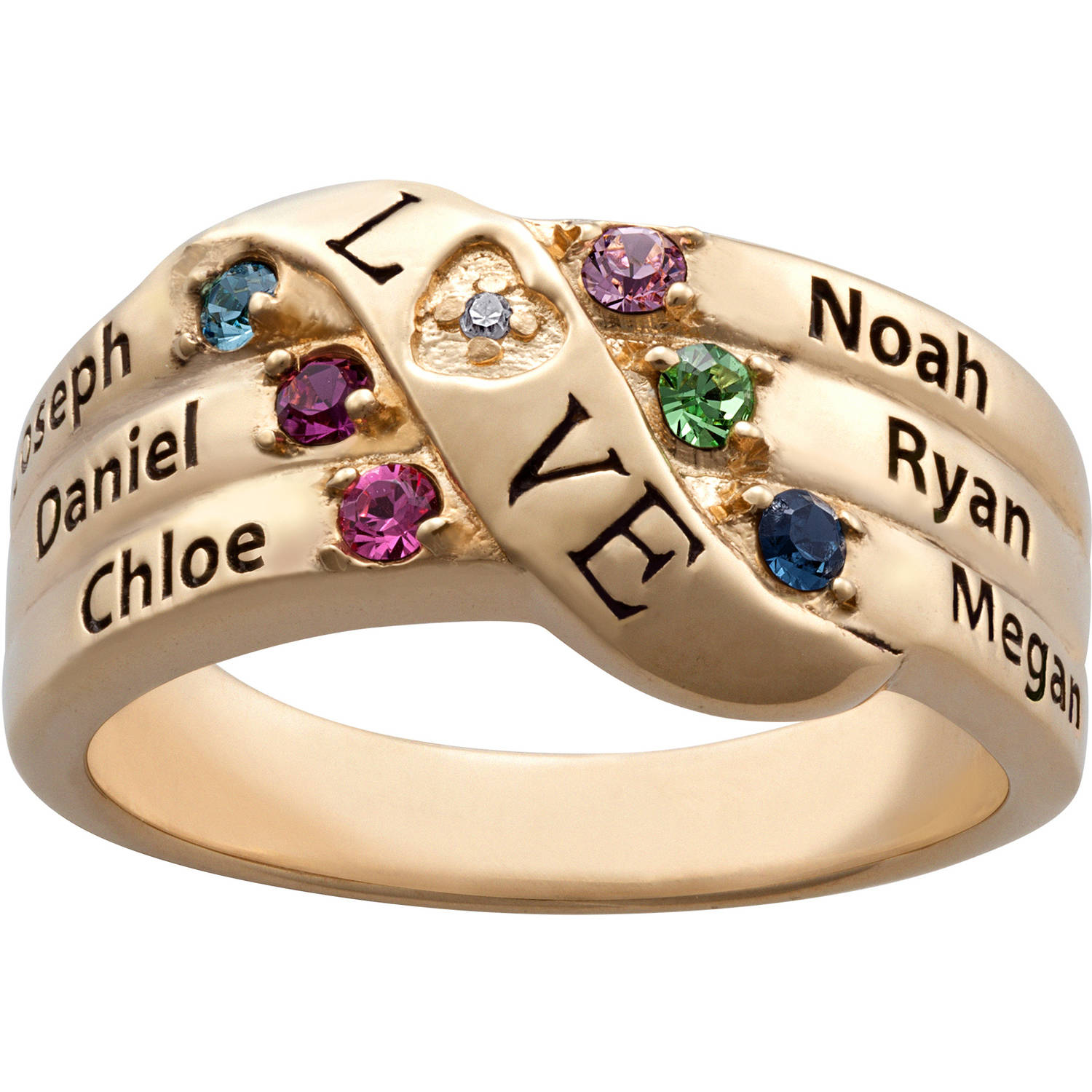 Personalized Mother's Gold over Sterling Silver Love Birthstone and Name Diamond-Accent Ring