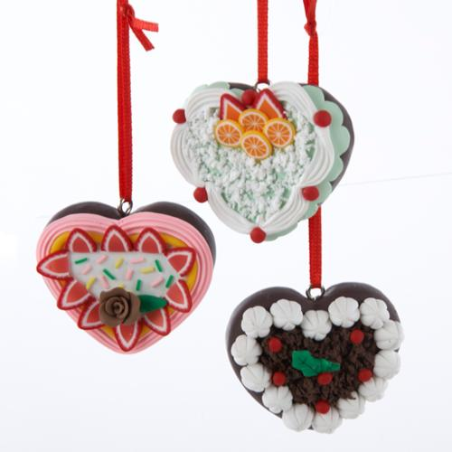 Club Pack of 12 Chocolate Shop Heart Shaped Cake Christmas Ornaments