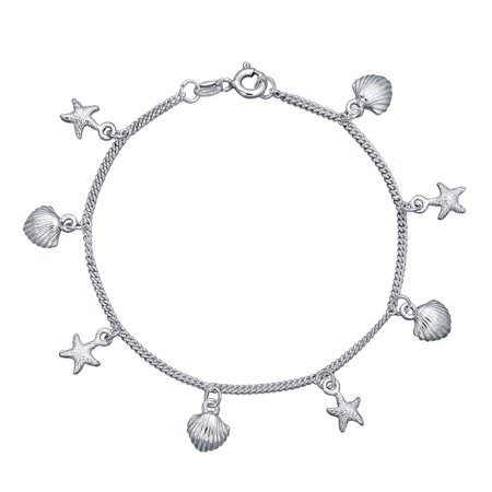 Nautical Charms Starfish Sea Shell Clam Sea life Link Bracelet For Women 925 Sterling Silver 7 Inch ()