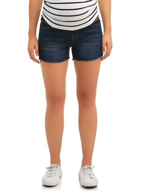 Oh! Mamma Maternity Full Panel Denim Shorts with Frayed Hem - Available in Plus Size