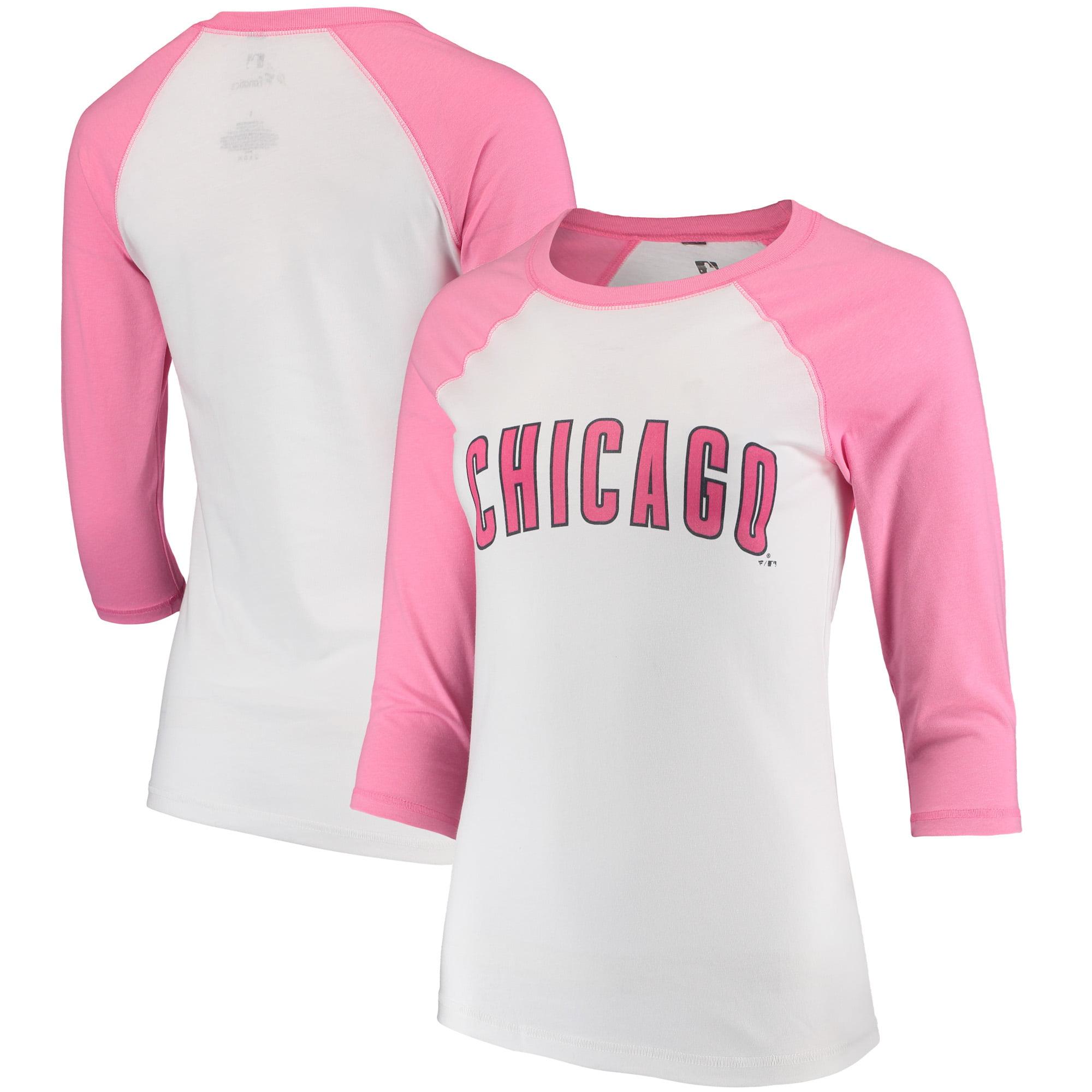 Women's Fanatics Branded White Chicago Cubs Pink Wordmark 3/4-Sleeve Raglan T-Shirt