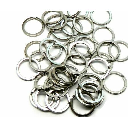 (40 Nickel Plated Flat Sided 1 Inch Split Key Ring Steel Alloy)