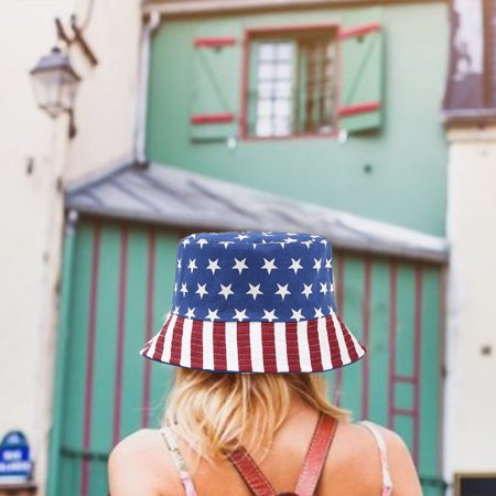 Bucket Hat Reversible American Flag Sun Hat Summer Cap for Outdoors Camping Fishing - image 9 de 9