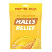 HALLS Relief Honey Lemon Cough Drops, 80 Drops