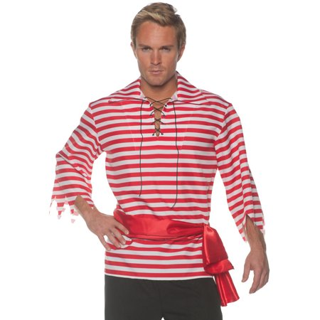 Men's Red And White Striped Pirate Costume Shirt