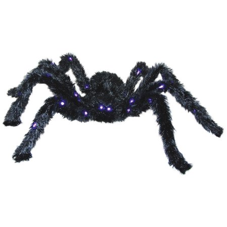 Battery Operated  Purple Light Up Posable Black Spider Movable Legs LED Prop (Battery Operated Black Lights)