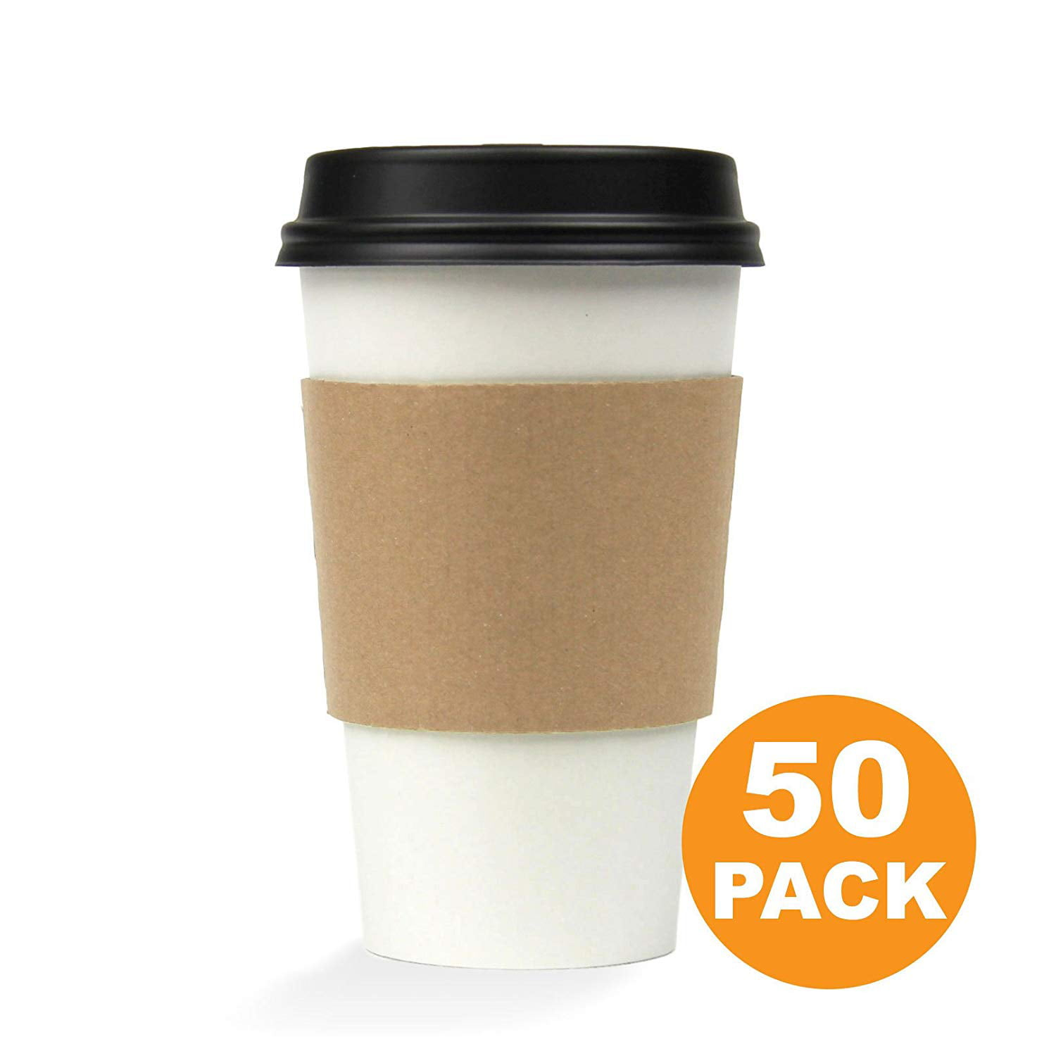 16 OZ Hot Beverage Disposable Paper Coffee Cup with Lid and Sleeve Combo, White Black Kraft, Medium Grande [50... by