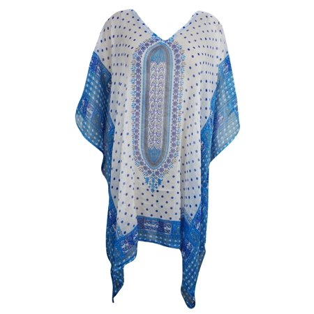 Mogul Lightweight Caftan Dress Blue White Dashiki Print Kimono Sleeves Beach Cover Up Resort Wear ONE SIZE