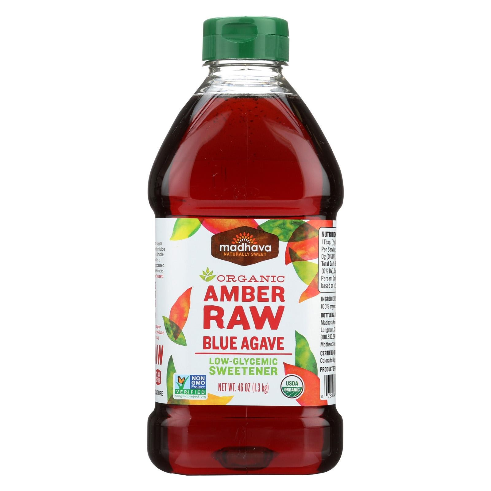 Madhava Honey Agave Nectar - Organic - Amber - Pack of 4 - 46 Oz