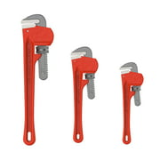 Plumbers Pipe Wrench, 3 Piece 14-Inch, 10-Inch, 8-Inch Set – Home Improvement Hand Wrenches with Adjustable Jaws and Storage Pouch by Stalwart