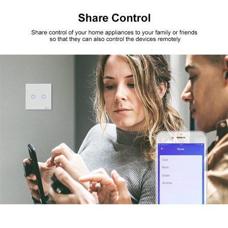 SONOFF T1UK2C-TX Interrupteur mural intelligent avec 2 groupes de touches WiFi 433Mhz RF Télécommande / APP / Minuterie de contrôle tactile - image 5 of 7