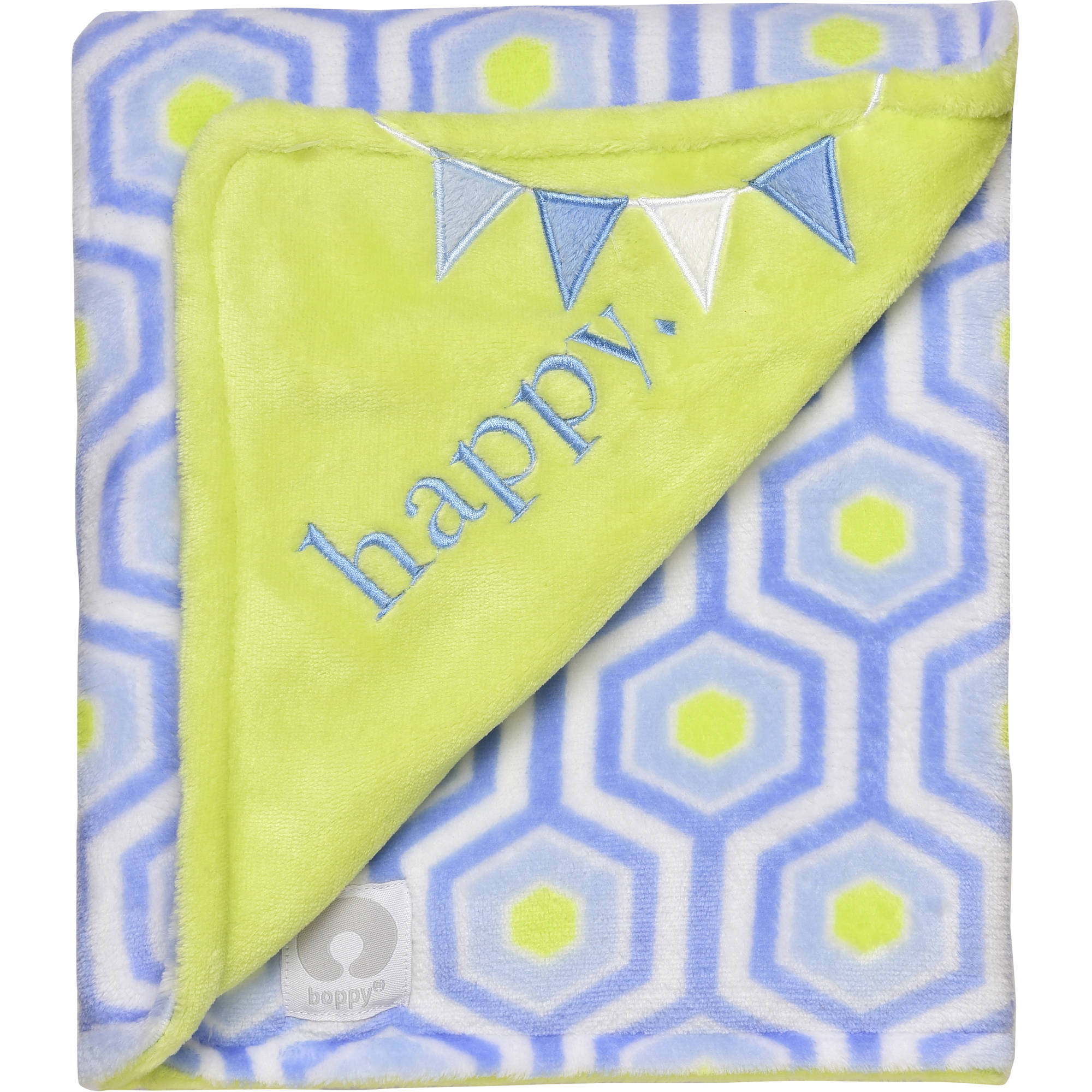 Boppy Luxurious Plush Reversible Appliqued Blanket, Happy/Hexagon Print