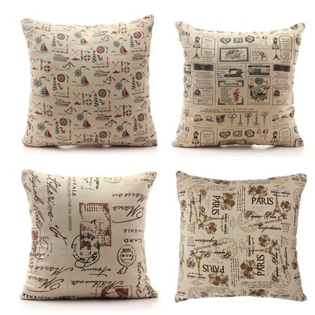 Meigar Vintage Couch Cushion Pillow Covers 18 X18 Square Zippered